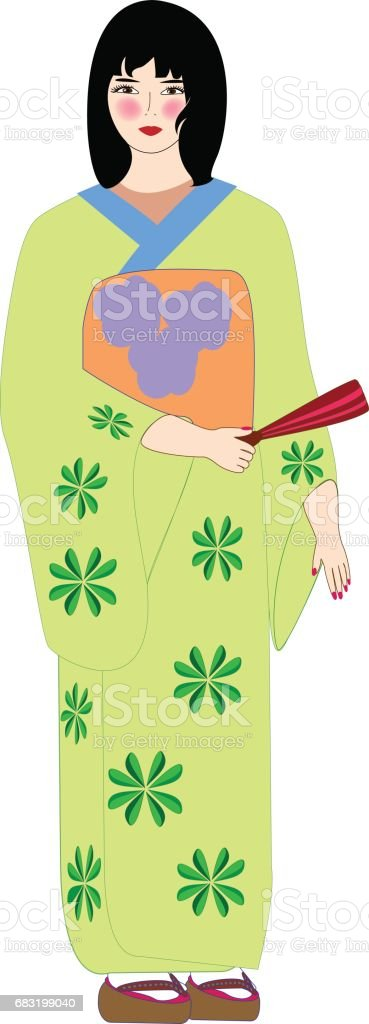 아름 다운 일본 여자 기모노에. 벡터 일러스트입니다. royalty-free 아름 다운 일본 여자 기모노에 벡터 일러스트입니다 게이샤에 대한 스톡 벡터 아트 및 기타 이미지