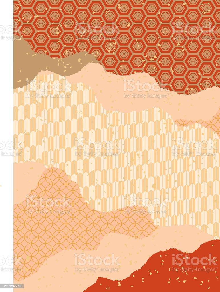 Beautiful Japanese Pattern Pattern (red) vector art illustration