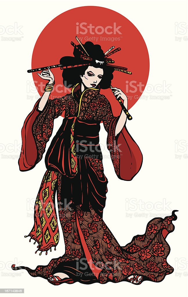 Beautiful japanese woman with hairpins royalty-free stock vector art