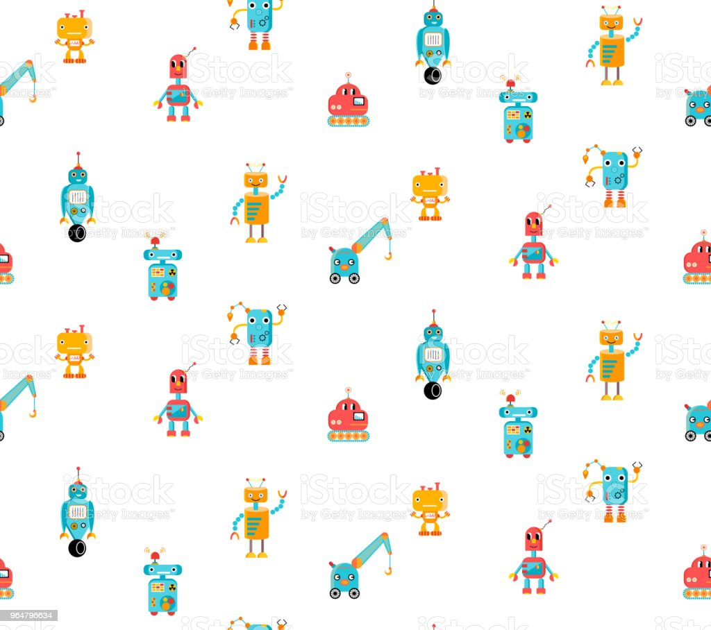 Beautiful kid's pattern with colorful robots royalty-free beautiful kids pattern with colorful robots stock illustration - download image now