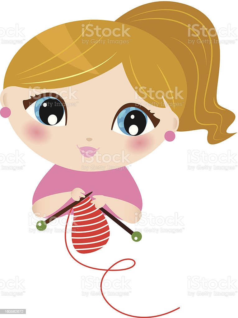 Beautiful knitting Girl isolated on white royalty-free stock vector art