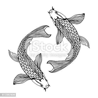 A beautiful koi carp fish illustration in monochrome. Symbol of love, friendship and prosperity.