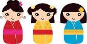 Traditional japan dolls set. Vector Illustration.