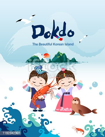 Beautiful Korean island, Dokdo's shrimp and seals. Korean traditional hanbok children couple characters are welcome to visit Korea.