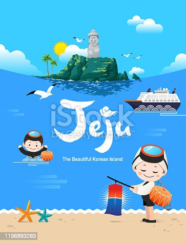 Beautiful Korean Island, Jeju. Seongsan Ilchulbong, stone grandfather, cruise ship, blue sea background. A traditional female diver welcomes you to visit Jeju Island.