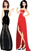 Two beautiful ladies in evening gowns.