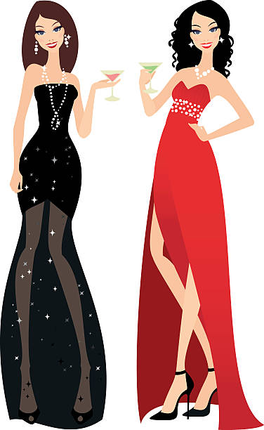 Beautiful ladies in evening gowns - Illustration vectorielle