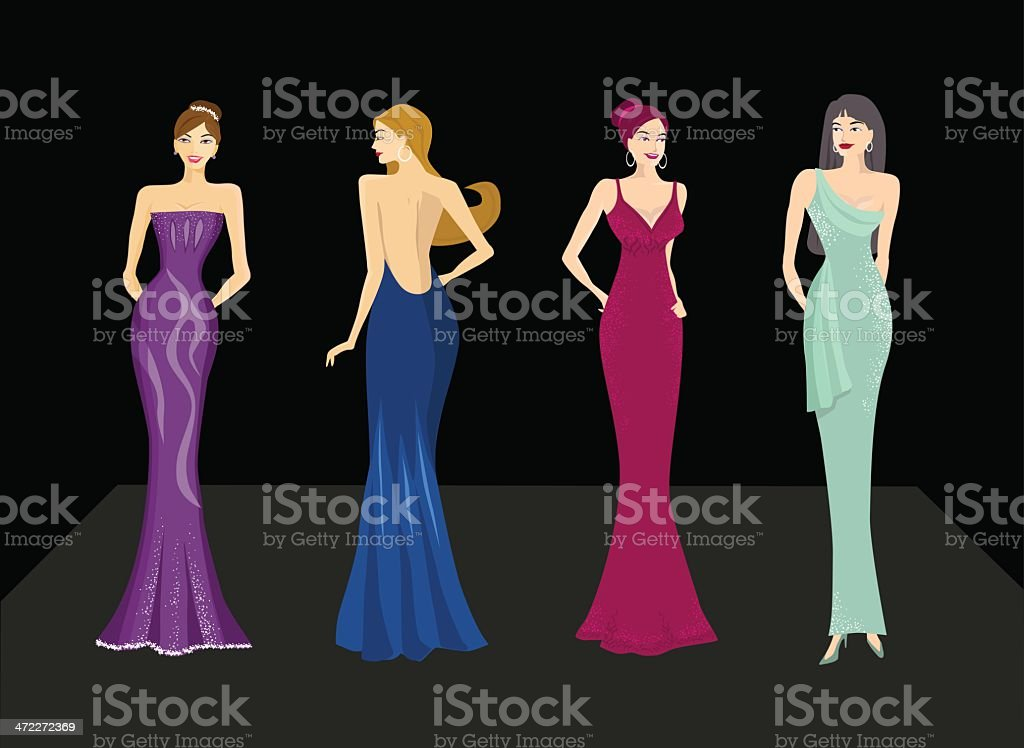 beautiful ladies vector art illustration