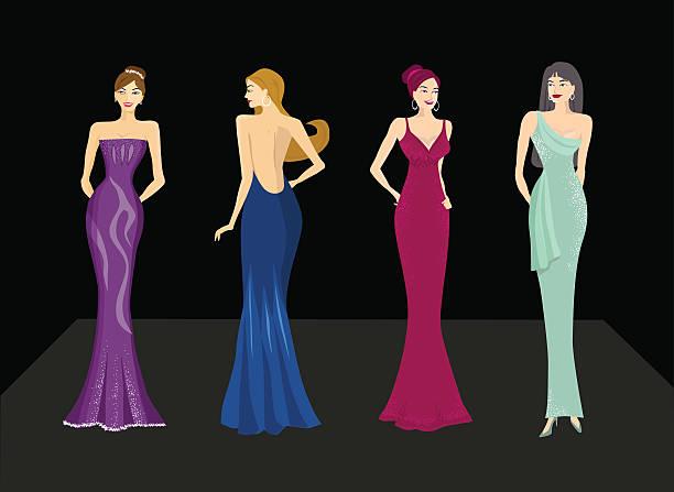 beautiful ladies - prom fashion stock illustrations, clip art, cartoons, & icons