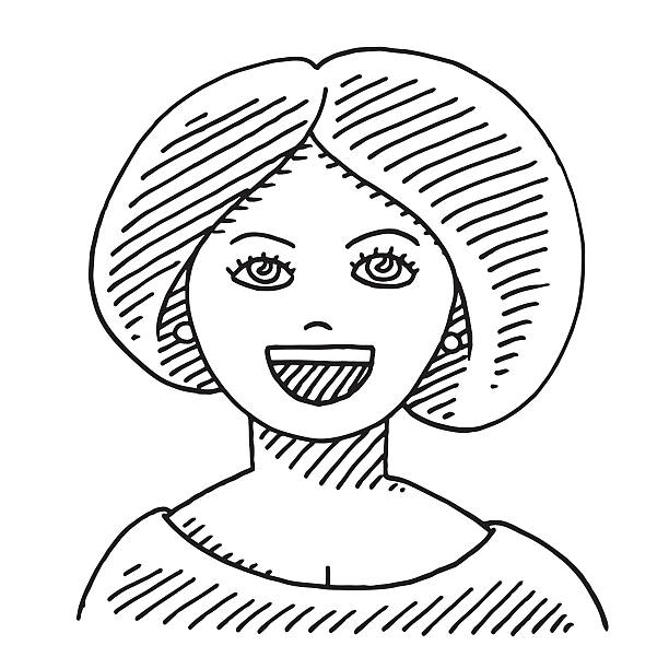 Beautiful Lady Face Drawing Hand-drawn vector drawing of the Face of a Beautiful Lady. Black-and-White sketch on a transparent background (.eps-file). Included files are EPS (v10) and Hi-Res JPG. women stock illustrations