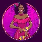 Happy smiling black woman in pink summer dress. Circle label, poster, tee shirt print. Vector illustration in retro pin-up, pop art, comic style.