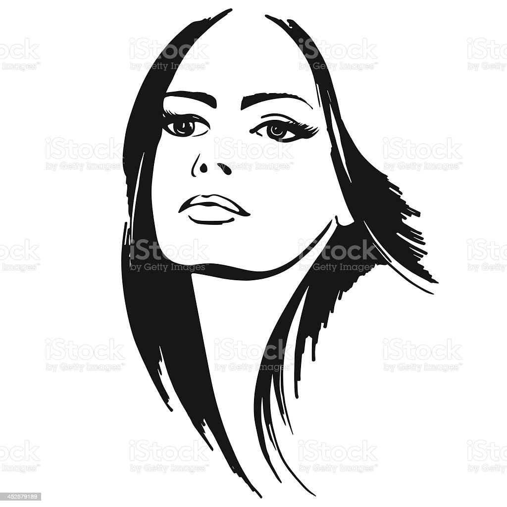 beautiful lady vector art illustration