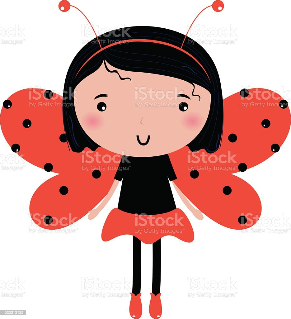 Beautiful Ladybug girl with red dotted wings isolated on white vector art illustration
