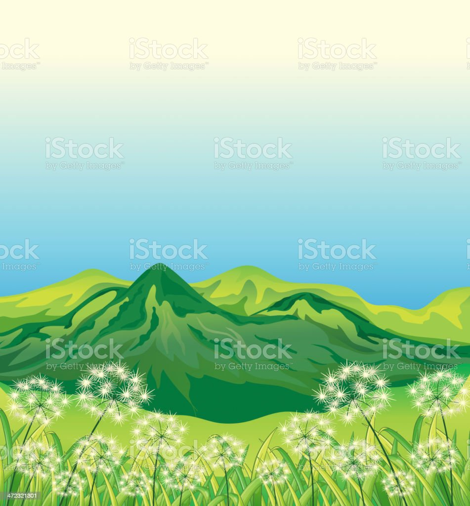 Beautiful landscape and a mountain royalty-free stock vector art