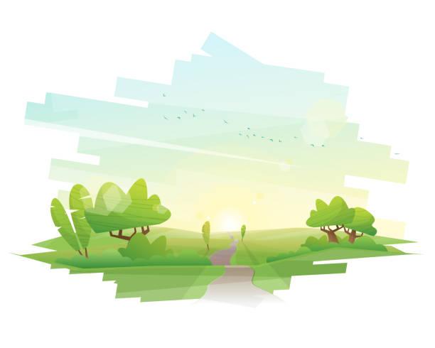 schöne landschaft hintergrund, vektor, abbildung - landstraße stock-grafiken, -clipart, -cartoons und -symbole