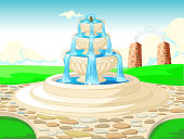 Beautiful Landscape Grass Field View With Water Fountain Cartoon for your design