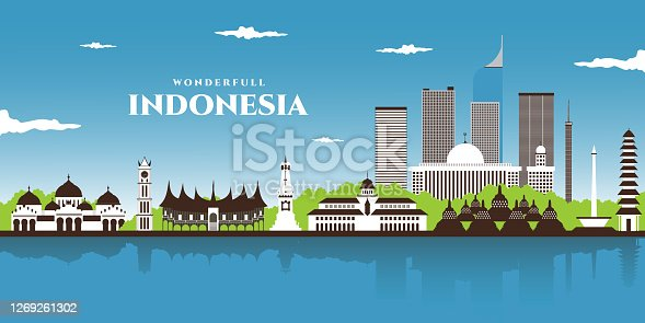 istock Beautiful landscape panorama view of world famous landmarks of Indonesia. Bali, Jakarta, Yogyakarta, Central Java, West Sumatra. Indonesia Icons, Cityscape, Travel and Tourist Attraction 1269261302