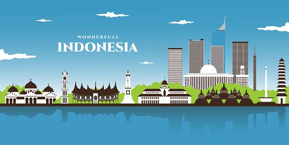 Beautiful landscape panorama view of world famous landmarks of Indonesia. Bali, Jakarta, Yogyakarta, Central Java, West Sumatra. Indonesia Icons, Cityscape, Travel and Tourist Attraction