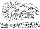 Hand-drawn vector drawing of a Beautiful Landscape with Sun And Clouds. Black-and-White sketch on a transparent background (.eps-file). Included files are EPS (v10) and Hi-Res JPG.