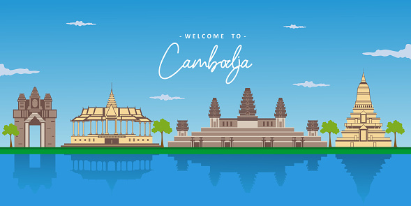 Beautiful landscape view of Cambodia with the world famous landmark. Angkor Wat, Siem Reap, Phnom Phenh, Silver Pagoda. Business area for traveling. Vector design colorful illustration