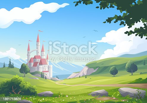 Vector illustration of a medieval fantasy castle with towers and flags in an idyllic rural landscape with a flower meadow, mountains, trees, hills, and a road leading to the castle.