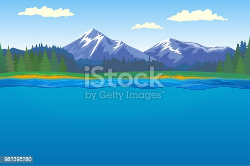 Beautiful horizontal landscape with forest and mountains on background and lake with underwater on foreground.
