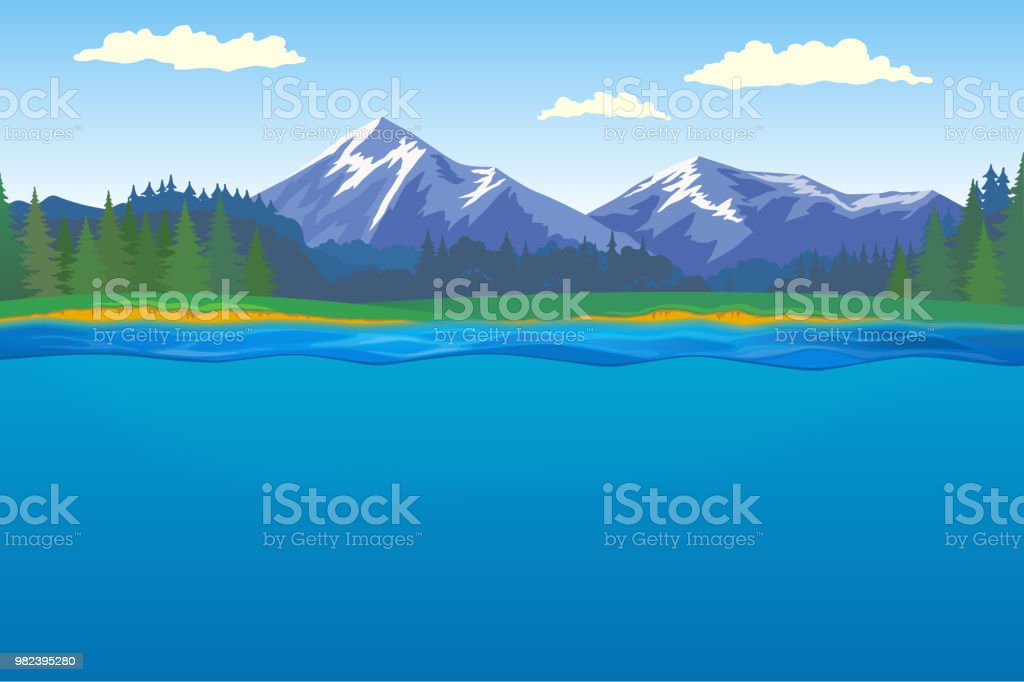 森林、山と湖の美しい風景 ベクターアートイラスト