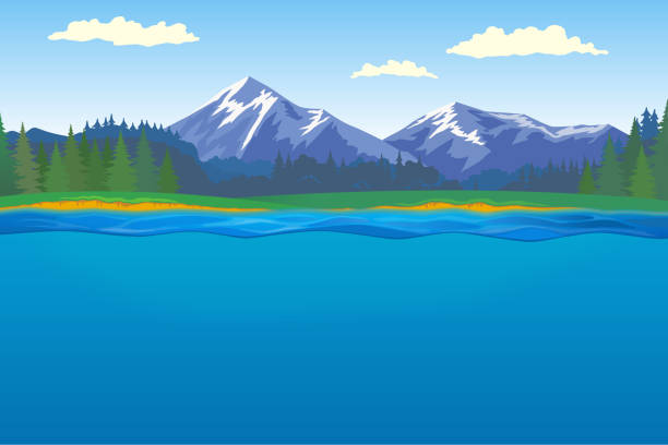 ilustraciones, imágenes clip art, dibujos animados e iconos de stock de paisaje con bosque, montaña y lago - lago