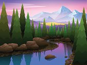 Beautiful landscape with forest river and mountains. Vector illustration.