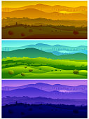 Self illustrated Beautiful landscapes, representing timings of the Day (morning,after noon,night)all elements are in separate layers and grouped individually, easy to edit. Please visit my portfolio for more options. Please see more related images on these lightboxes: