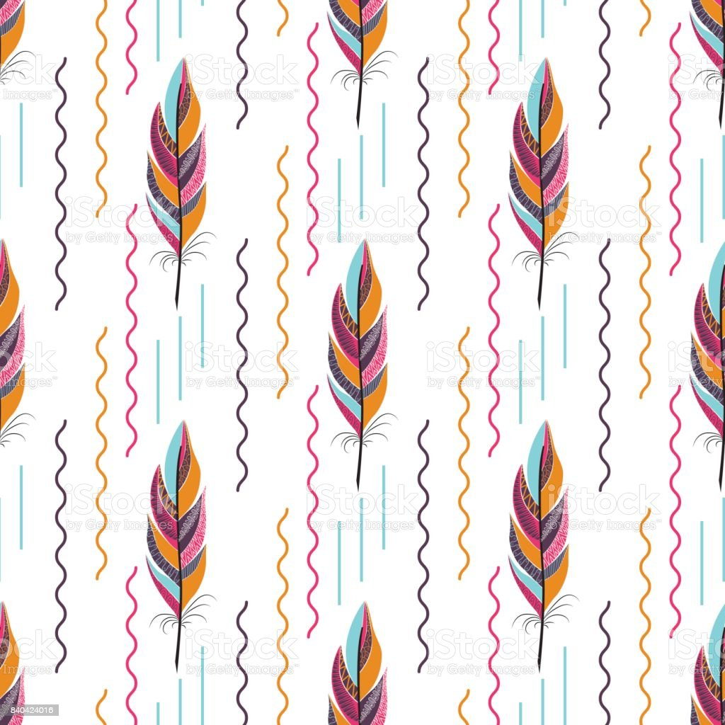 Beautiful large bright colored feather pattern vector art illustration