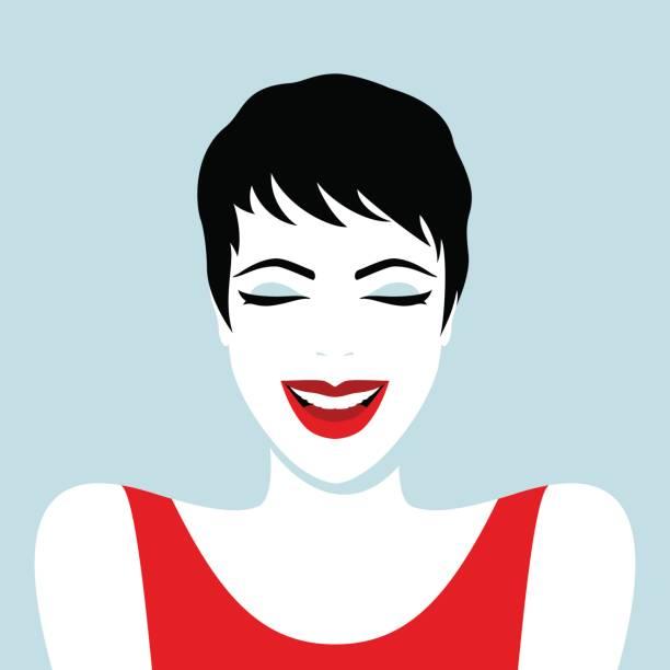 stockillustraties, clipart, cartoons en iconen met mooie lachende vrouw - woman smiling