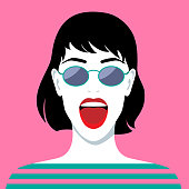 Vector illustration of beautiful laughing woman with sunglasses