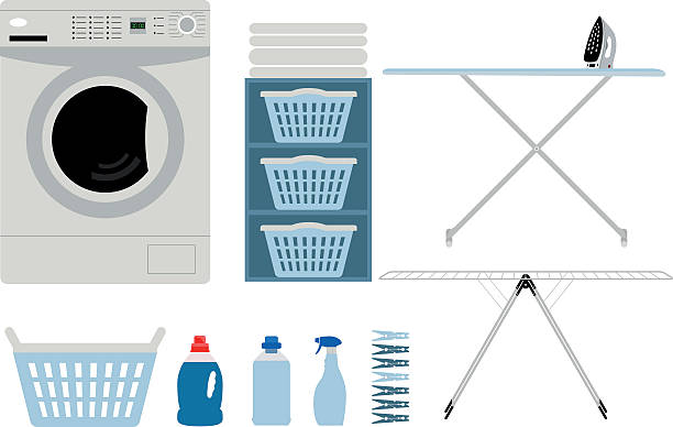 Beautiful laundry set . Beautiful laundry set with washing machine, hamper, ironing utensils, detergents and pegs isolated on white background. laundry basket stock illustrations