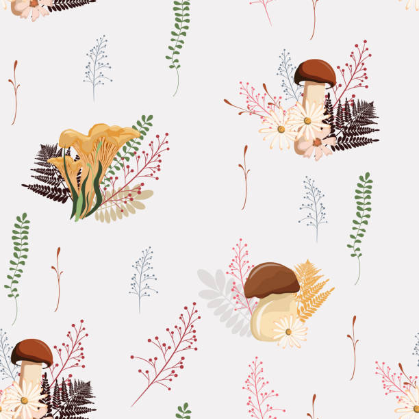 Beautiful light Autumn seamless pattern vector with mushrooms, berries, fern, herbs and leaves. Fall colorful floral background. patter for fashion, fabric and all prints on a white background. vector art illustration