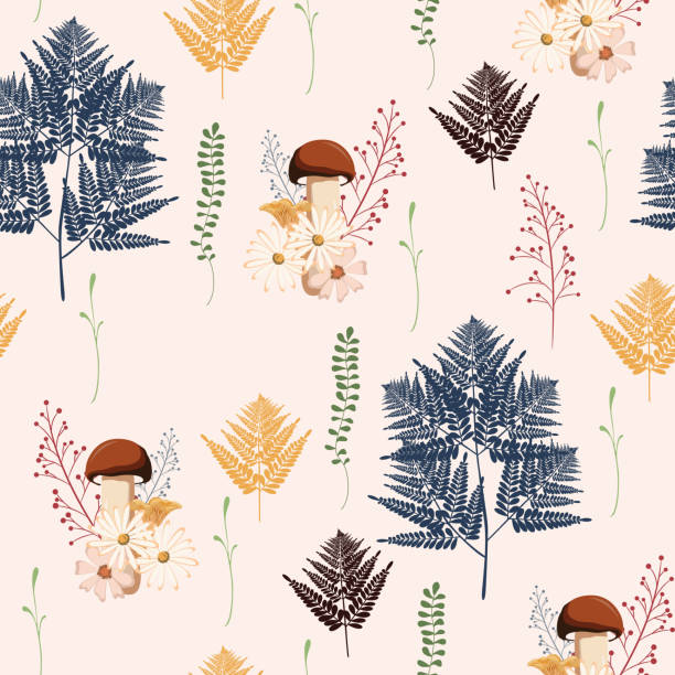 Beautiful light Autumn seamless pattern vector with mushrooms, berries, fern, herbs and leaves. Fall colorful floral background. patter for fashion, fabric and all prints on a yellow background. vector art illustration