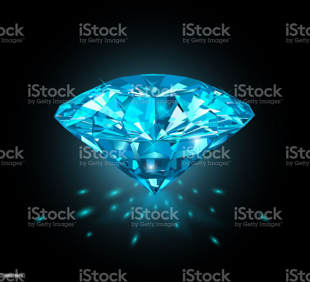 Beautiful Light Blue Gem Sapphire Isolated On Black Background Vector Illustration Stock Illustration Download Image Now Istock