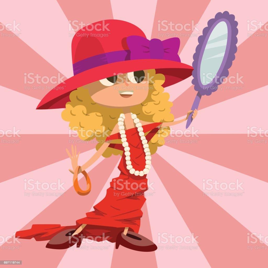 かわいい人は成人女性のような服を着て美しい Liitle 少女幸福小児ヤング