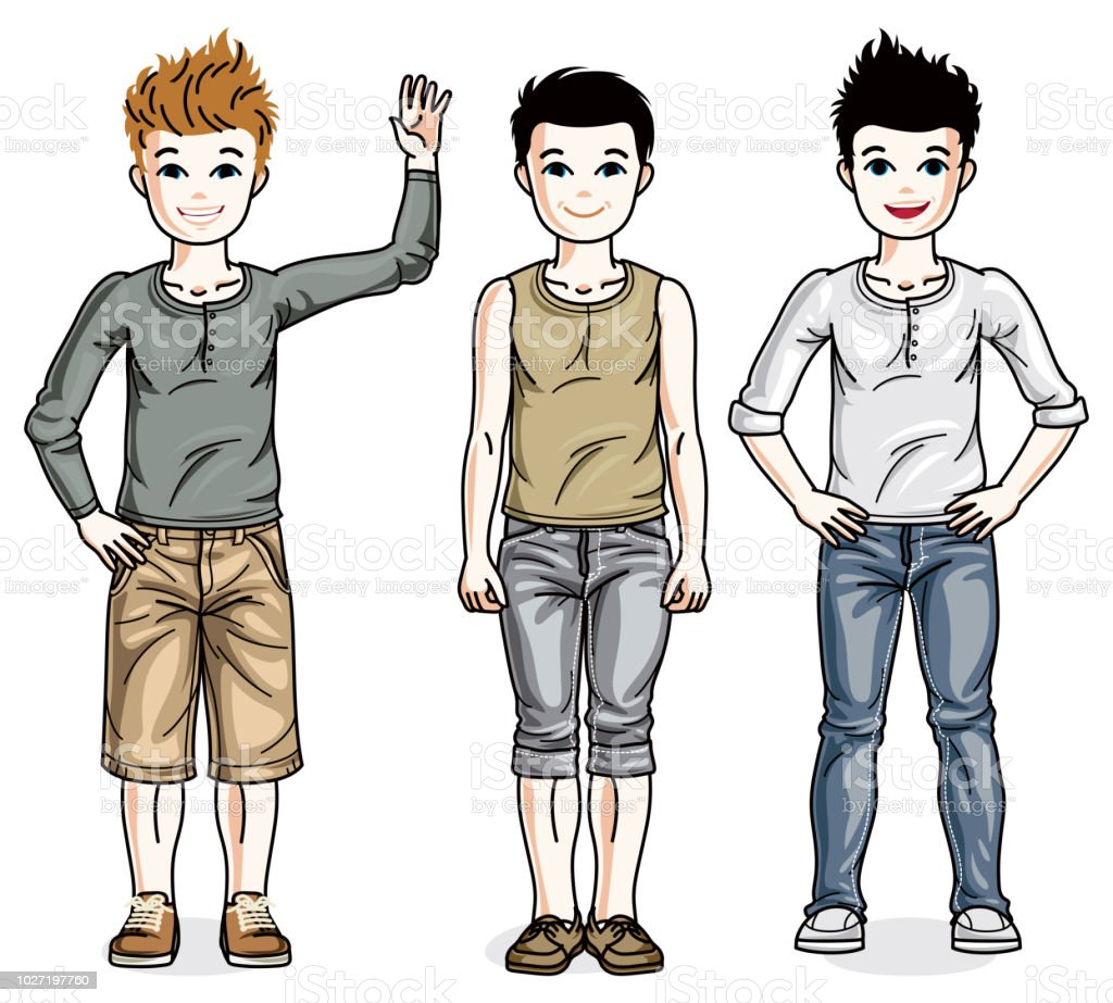 Beautiful little boys cute children standing wearing different casual clothes vector kids illustrations set illustration