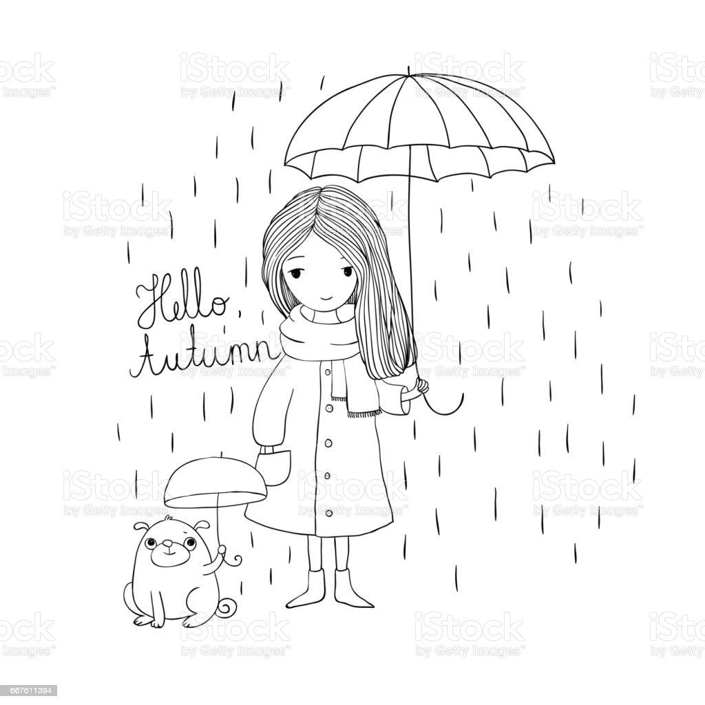 Ilustración de Hermosa Niña Y Un Pug Lindo Bajo Un Paraguas y más ...