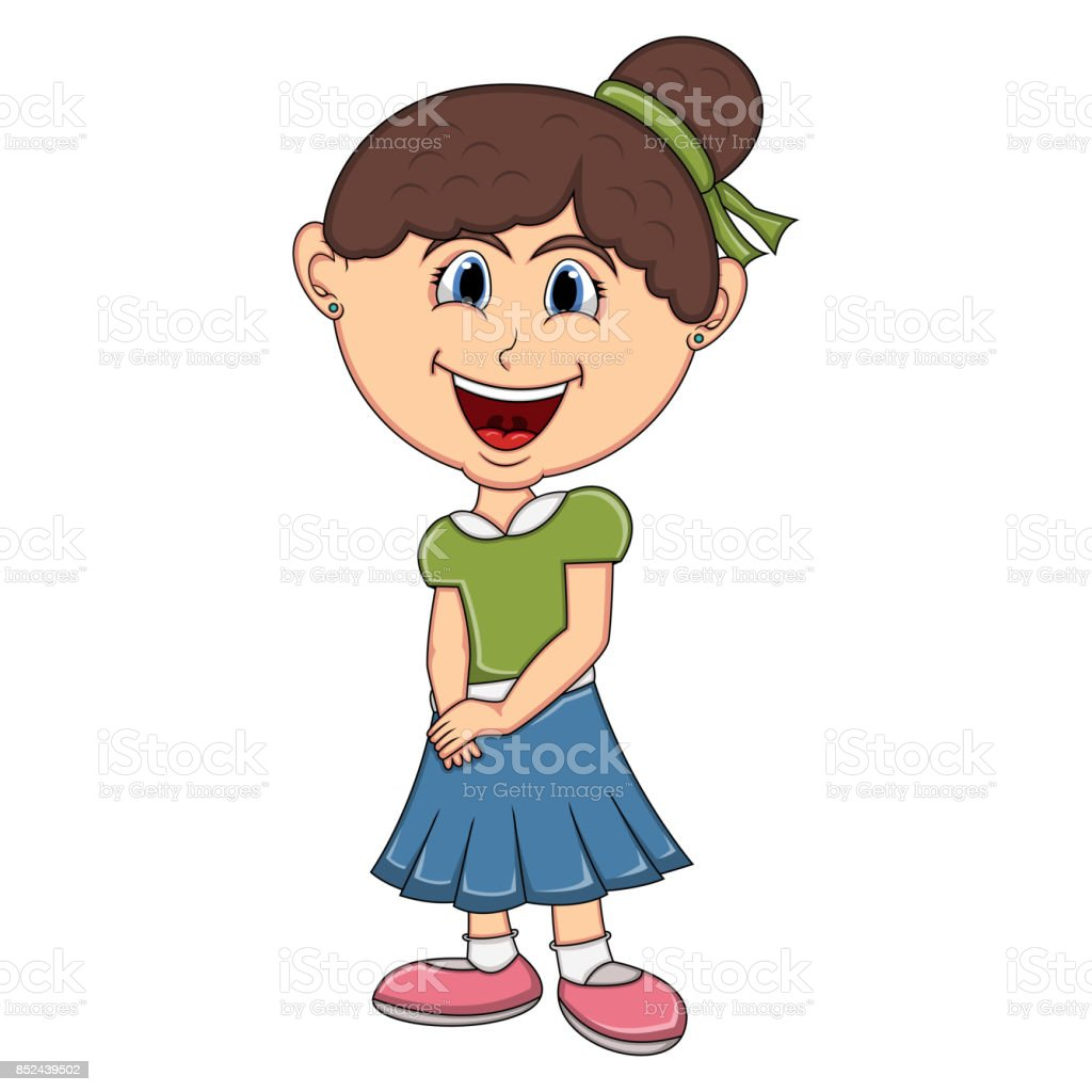 Beautiful little girl cartoon vector art illustration