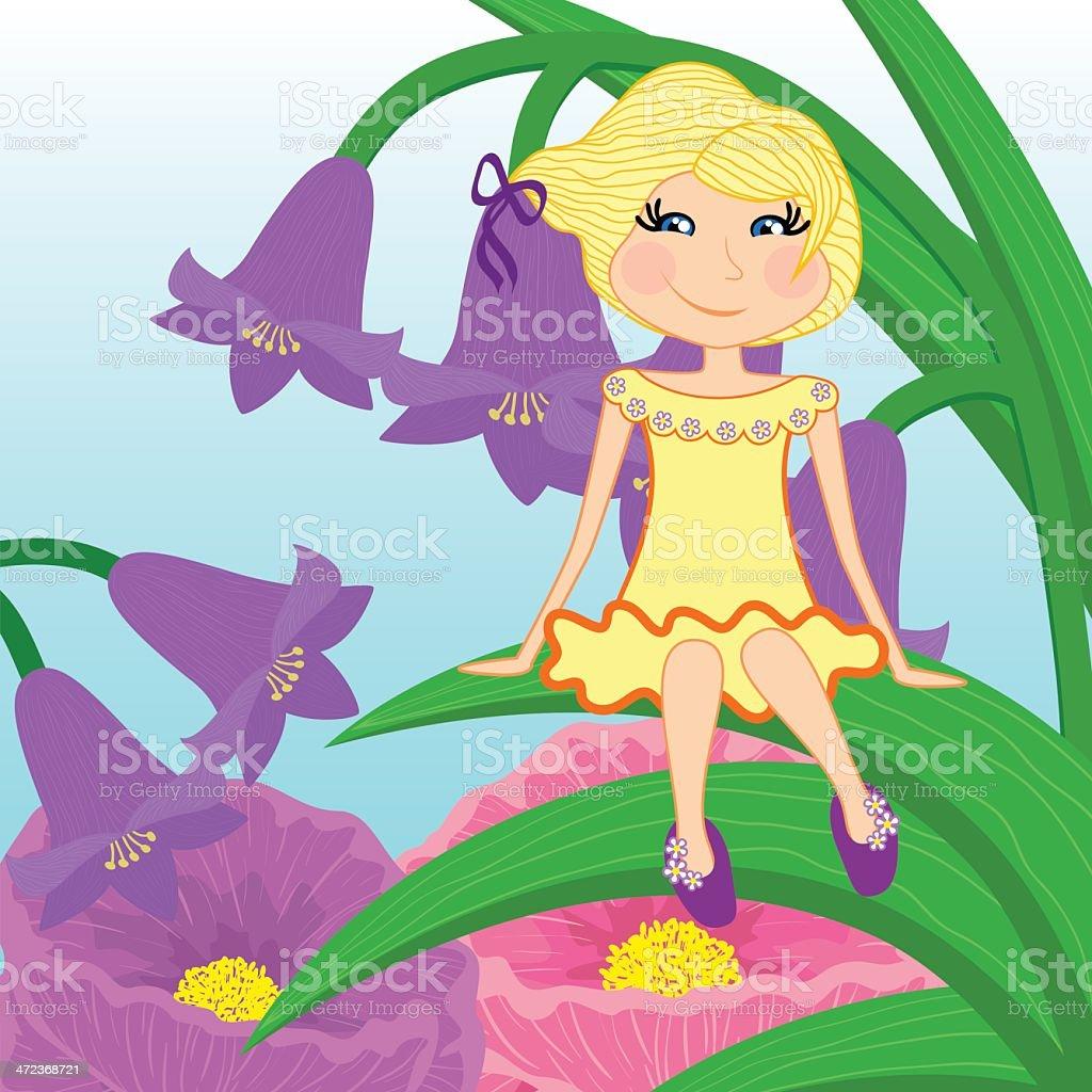Beautiful little girl sits on leaf vector art illustration