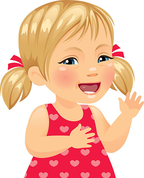 beautiful little girl with down syndrome - heyheydesigns stock illustrations