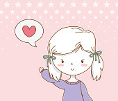 beautiful little girl with speech bubble and heart message vector illustration design
