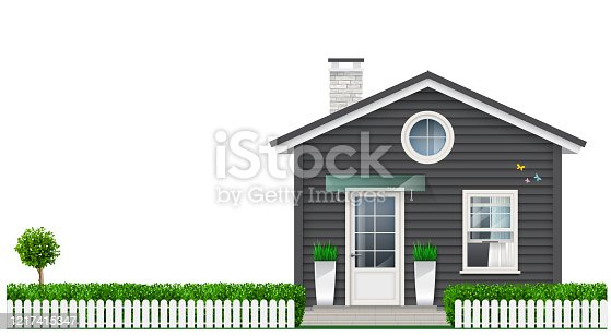 Beautiful white gray little house with trees in pots. Vector graphics