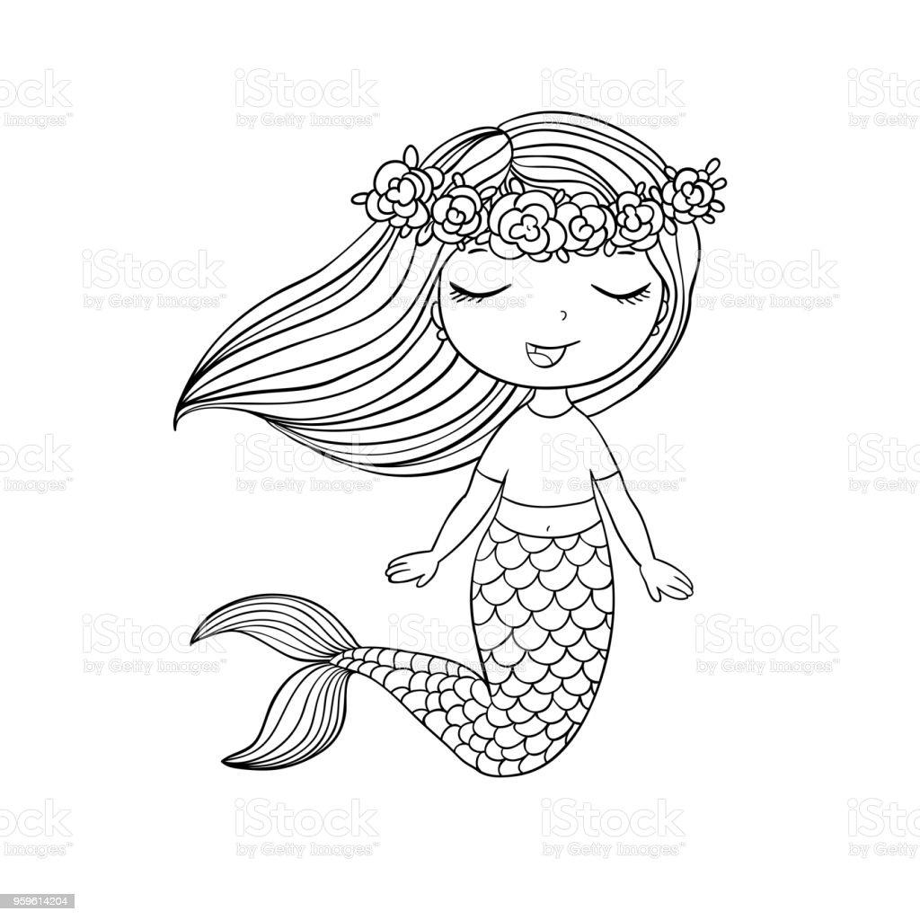 schöne kleine meerjungfrau sirene meerthema stock vektor