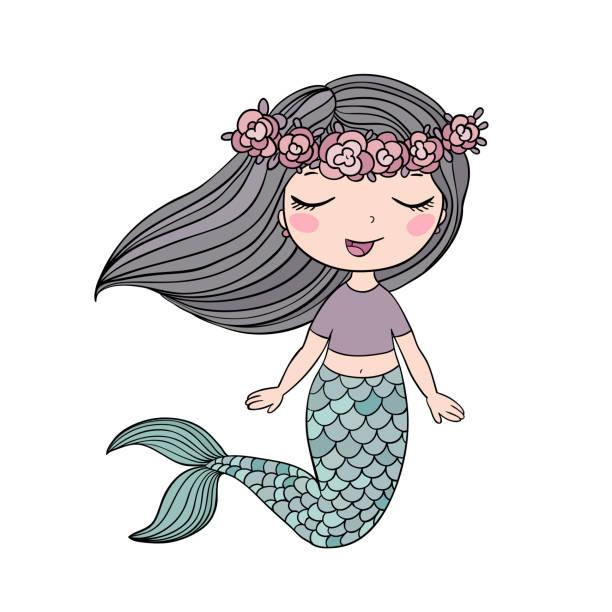 illustrations, cliparts, dessins animés et icônes de belle petite sirène. sirène. thème de la mer. - tatouages sirènes