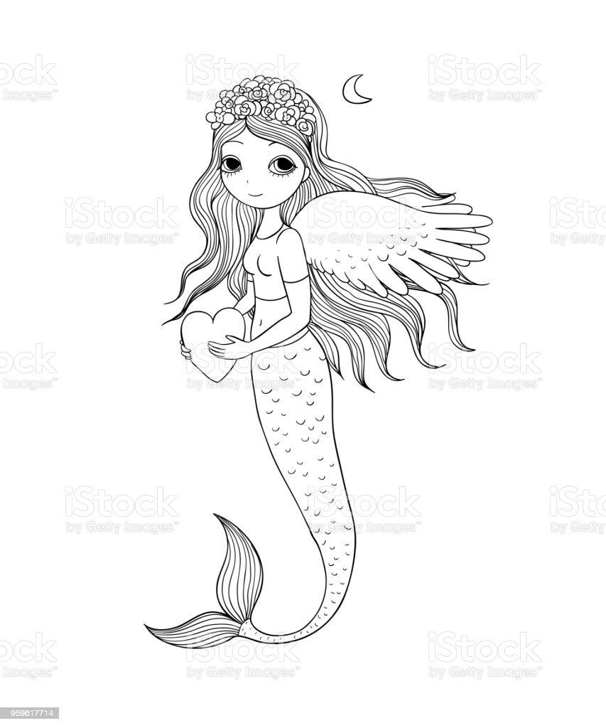 Hermosa sirenita. Sirena. Tema del mar. - arte vectorial de Agua libre de derechos