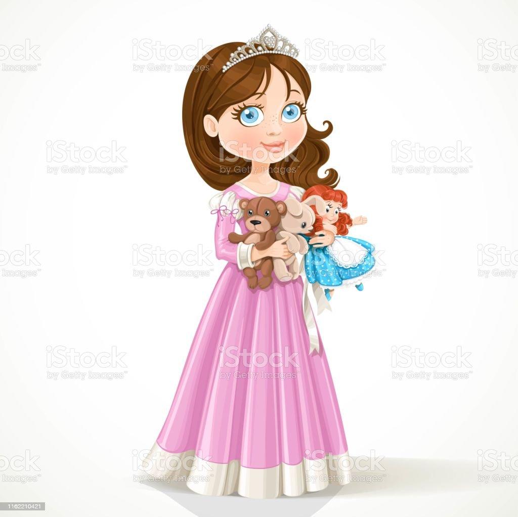 Mooie Kleine Prinses In Tiara Houden Van Zacht Speelgoed