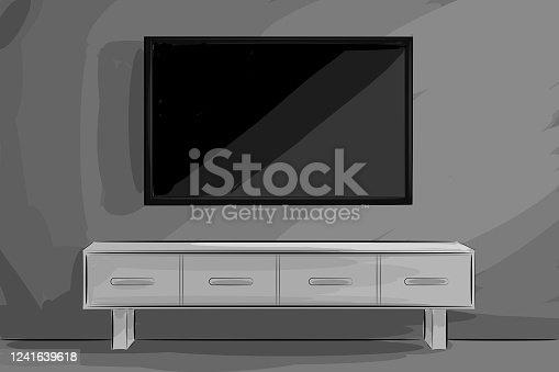 istock Beautiful Living Room Drawing 1241639618